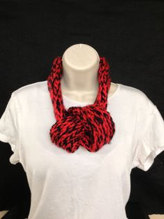 Hand made loom knitted red black adjustable infinity scarf by knittedbydesign on Etsy
