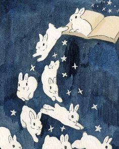 Schinako Moriyama is an illustrator as bunny art from Fukushima, Japan. She paints amazing illustrations with acrylic paint. Art And Illustration, Illustrations, Rabbit Illustration, Illustration Animals, Kunst Inspo, Art Inspo, Lapin Art, Bunny Art, Bunny Drawing