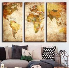 Own this amazing retro world map wall canvas today we will ship the canvas for free. This is the perfect center piece for your home. It is easy to assemble and hang the panels together which makes this a great gift for your love ones.  This painting is printed not handpainted and is ready to hang! We have 3 options for this canvas -- size 1: (35cmx70cmx3PCS)  size 2: (40cmx80cmx3PCS)  size 3: (45cmx90cmx3PCS) Limited quantities left. www.octotreasures.com