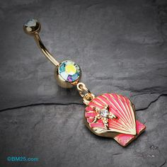 Ariel's Shell Dangle Belly Button Ring by BM25Jewelry on Etsy