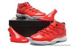 tenis de marca barato Vermelho Suede Vermelho/Branco AIR JORDAN 11 378037-623 Masculino-Mulheres