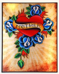 Old School Tattoo Style Heart / Mother  Acrylic by organikcreative