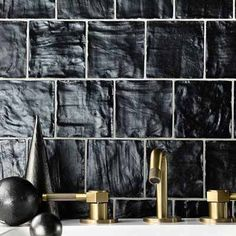 Gracious Tile for the Guest Bath Black Subway Tiles, Black Tiles, Grey Bathroom Tiles, Stone Bathroom, Ceramic Mosaic Tile, Ceramic Subway Tile, Japanese Style House, Geometric Tiles, Handmade Tiles