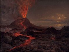 Night view of Vesuvius erupting by Johan Christian Dahl (1766 - 1857)