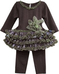 The colors green and brown work so well together, as is evident in the Isobella & Chloe Green & Brown Tutu Set. It's for stylish kids and can be found every day from your favorite online retail shore for designer clothes, LollipopMoon.com.