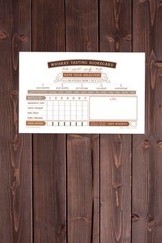 WHISKEY tasting scorecards 12 by SweetUnrestStudio on Etsy