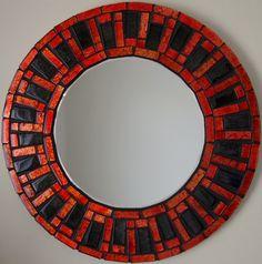 Beautiful Handmade Mosaic Mirror Bevelled Edge Glass Red/Black Mosaic Tile