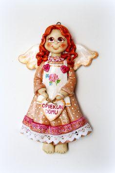 anioł z masy solnej, anioł z dedykacją, anioł opiekun domu, salt dough angel