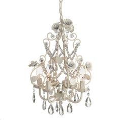 Chandelier With White Roses and Beads  - $130.00 : Enchanted Cottage Shop, For Gifts Antiques Reproductions Collectables and Home Decor