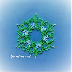 Tatted in blue and green, my original pattern reminds me of forget-me-nots on a spring day. Made up in white thread with crystal beads, it evokes ice castles. You can make this nosegay or snowflake with or without beads. It includes instructions for working with beads.  The pattern is a visual diagram with written instructions for the unusual, but simple techniques.  Skill level--Intermediate. Skills needed: Rings, chains, picots, joins. All other techniques are taught in step-by-step…