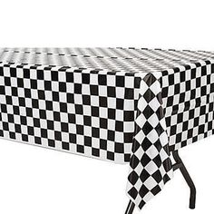 Checkered Racing Table Cover -Super Mario Kart Party Decoration