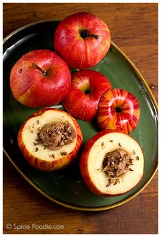 Easy Baked Apples; almond butter; baked; apples; baked apples; flax seeds; red; flax; vegan; dessert; snack; Almond Butter Baked Apples; easy; fast; healthy; low fat; Vegan Baked Apples; Spicie Foodie