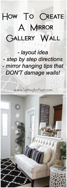 How to create a beautiful mirror gallery wall! Instructions, layout idea and mirror hanging tips that don