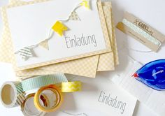 Invitation card with a cute little bunting from bakers twine and washi tape for a summer party.
