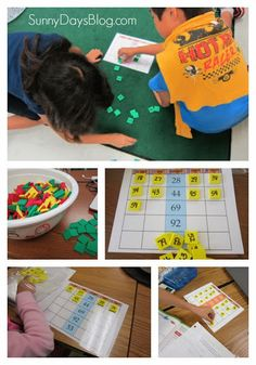 Math activity using numbered tiles to build number sense