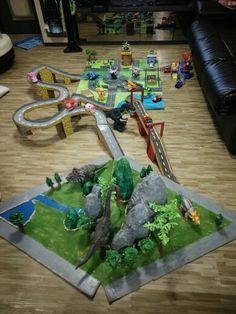 Dino land, city map, bridge created using used boxes