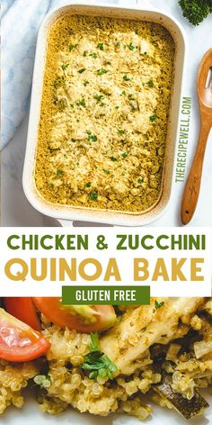 Chicken and Zucchini Quinoa Bake is an easy and healthy dinner. A delicious meal made with chicken breast, zucchini, quinoa, pesto and melty mozzarella. FOLLOW The Recipe Well for more great recipes! Zucchini Quinoa, Healthy Zucchini, Work Meals, Easy Meals, Meals To Make With Chicken, Chicken Meals, Chicken Zucchini Casserole, Healthy Dinner Recipes, Recipes