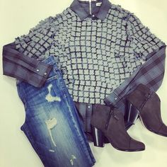 We're pairing our favorite Elizabeth and James top with Current/Elliott distressed skinny jeans and rag & bone Margot booties to create the perfect fall look head to toe! #ootd #nordstromcincy #designer #fallfashion