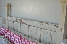 old door made into headboard - with paint, I will love this!!!!
