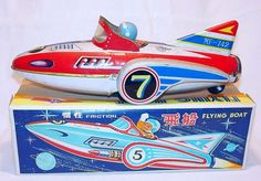 MF 742 China FLYING BOAT Space Tin Toy Friction 1st Edition! 32cm Long! MIB`68!