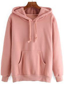 Shop Hooded Drawstring Pocket Pink Sweatshirt at ROMWE, discover more fashion styles online. Baggy Hoodie, Grey Sweatshirt, Sweater Shirt, Red Hoodie, Hoody, Cute Sweatshirts, Hooded Sweatshirts, Girls Sweaters, Clothes
