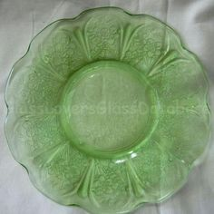 CHERRY BLOSSOM Green Dinner Plate by Jeannette Green Dinner Plates, Cherry Blossom, Tableware, Glass, Dinnerware, Green Plates, Drinkware, Dishes, Place Settings