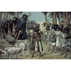 Moses Defends Jethros Daughters James Tissot (1836-1902 French) Jewish Museum New York City Canvas Art - James Tissot (18 x 24)