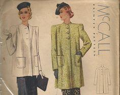 McCalls Spring Jacket Coat Vintage UNcut Sewing Pattern McCall 3185 Box Coat Yoke Effect Shoulders bust 32 1950 Style, Old Dresses, Spring Jackets, Coat Patterns, Simplicity Patterns, Vintage Hollywood, Vintage Sewing Patterns, 1940s, Designer Dresses