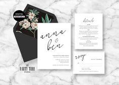 Wedding Invitation Printable , Wedding Stationery Suite , Modern Wedding Invitation , Wedding RSVP , Printable Wedding Suite
