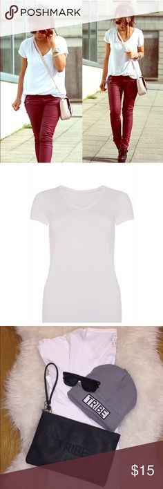 Women's White Basic Stretch V-Neck Tee More colors and colors available upon request.(Size 4-size 16) Simple yet staple look! Great quality, great price. Bundle and save! Tops Tees - Short Sleeve