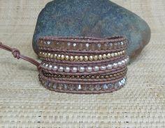 Beaded Leather Wrap Bracelet: Pink Champagne Mix/5 Wrap Bracelet/Crystals/Pearls/Layering Bracelet/Gift for Her/Neutral Wrap Bracelet/OOAK by DevaOriginalBracelet on Etsy