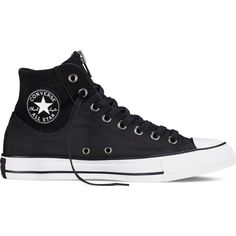 Converse Chuck Taylor All Star MA-1 Zip – black/white/white Sneakers ($70) ❤ liked on Polyvore featuring shoes, sneakers, black, white hi top sneakers, converse shoes, white sneakers, black hi top sneakers and black high-top sneakers
