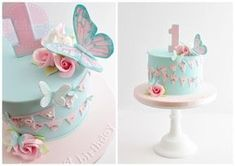 Butterflies, flowers and bunting birthday cake for a gorgeous little girl celebrating her 1st birthday. :)