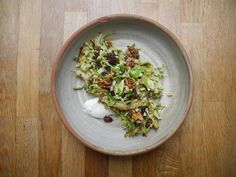 Brussels sprout and barley salad with lemon-honey vinaigrette - The Globe and Mail Barley Salad, Savoy Cabbage, Angler Fish, Salad Ingredients, Serving Plates, Brussels Sprout, Vinaigrette, Wine Recipes, Nom Nom