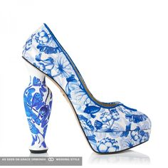 charlotte olympia designer shoes blue floral pattern platform