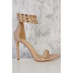 Nude Strappy Studded Detailing Open Toe Single Sole High Heels Suede (£38) ❤ liked on Polyvore featuring shoes, pumps, nude strappy shoes, strappy high heel shoes, open toe pumps, studded shoes and nude shoes