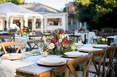 Outdoor reception, cross back chairs & farm tables #crossbackchairs #farmtables