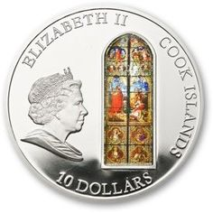 Moeda: 10 Dollars (Cologne Cathedral) (Ilhas Cook) (Windows of Heaven) WCC:km1258