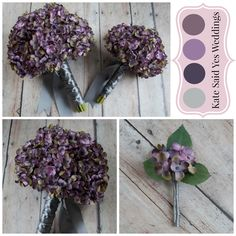 Loving this lavender and soft purple hydrangea wedding bouquet collection!  By Kate Said Yes Weddings.