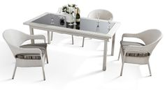 odern Fabric Patio furniture in White - $1048 -- Features: Black tinted glass top. -- LAfurnitureStore