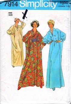Simplicity 7914 1970s Misses CAFTAN Pattern Cummerbund Kimono Sleeve Womens Vintage Sewing Pattern One Size Bust 31 - 48 UNCUT