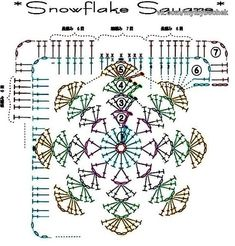 Crochet Hat granny square snowflake Patterns For Women Japanese Crochet Patterns, Crochet Motif Patterns, Crochet Blocks, Granny Square Crochet Pattern, Crochet Diagram, Crochet Chart, Crochet Squares, Crochet Granny, Granny Squares
