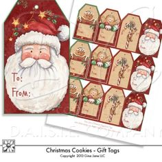 Printable - DIY - Do it yourself printable Christmas Gift Tags - gingerbread men and Santa Claus tags by Gina Jane Designs - DAISIE Company