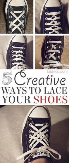 5 Fun and creative ways to tie your shoes! How to tie your shoelaces cool with these easy lacing techniques... Perfect for Converse or any sneakers. Listotic.com