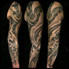 Skull Tattoos, New Tattoos, Body Art Tattoos, Sleeve Tattoos, Cool Tattoos, Tatoos, Biomech Tattoo, Biomechanical Tattoo Design, Bio Organic Tattoo