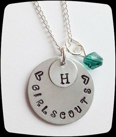 Personalized Jewelry, HandStamped Jewelry, Girlscouts Necklace, Girl Scouts Troop, Initial Jewelry, aluminum disc