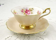 Royal Albert Tea Cup and Saucer with Pink Roses Vintage Bone