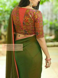 PV 4250 : Multicolour and Green.Bring home this simple yet traditionally beautiful two toned green sari finished with orange and pink bordersUnstitched blouse piece : Multicolour blouse piece as in the pictureFor Order 29 August 2019 New Saree Blouse Designs, Blouse Designs High Neck, Simple Blouse Designs, Stylish Blouse Design, Bridal Blouse Designs, Design Of Blouse, Designer Blouse Patterns, Green Sari, Pink