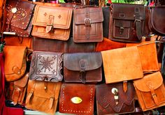 El Rastro in Madrid - this is a huge street market that takes over the city every Sunday. These beautiful leather bags were my favorite thing there. If you're in Madrid, don't miss this!