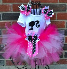 Barbie Girl Personalized Tutu Set with Shoulder Bows- PERFECT for birthday party or if your diva loves to dress up